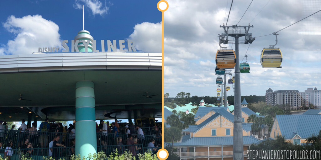 Disney Skyliner sign and gondolas over caribbean beach resort