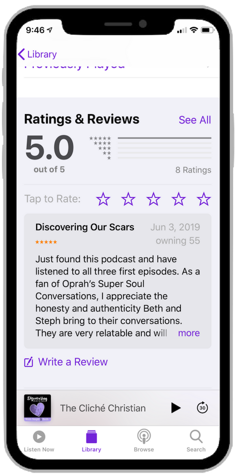 Leave a review for a podcast.
